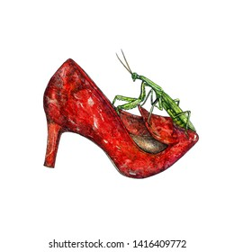 Red leather kitten heel shoes with green  European mantis (Mantis religiosa) on it, hand painted watercolor with ink drawing illustration