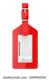 Red Leather Luggage Identification Label Tag with Name, Address, City, State and Phone Fields on a white background. 3d Rendering