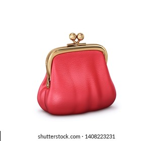 Red leather purse isolated on white background. 3D rendering