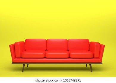 Red Leather sofa design in yellow background, 3D rendering illustration.