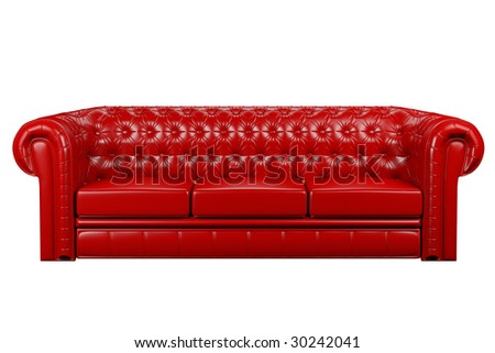 red leather sofa isolated over the white 3d