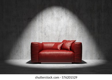 red leather sofa in spotlight with concrete wall 3d rendering