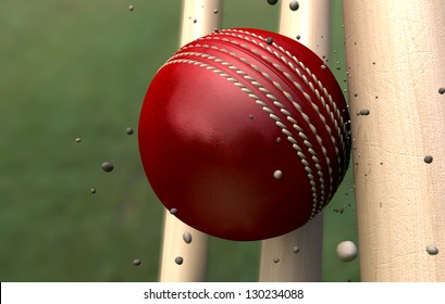 A red leather stitched cricket ball hitting wooden wickets with dirt particles emanating from the impact