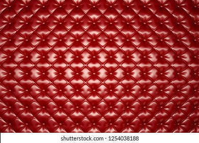 Red Leather Upholstery Texture /Abstract Background. 3D illustration