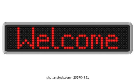 Red led dot display with welcome text message over a white background. Part of a series.