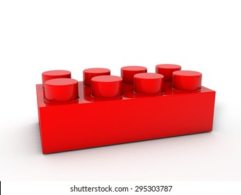 Red lego block on a white backgrond.