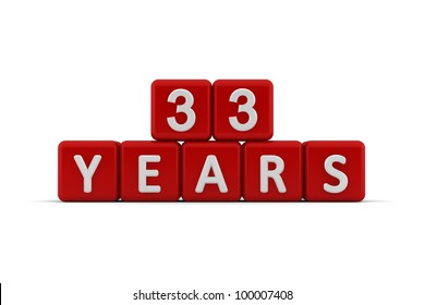 Red letter cubes 33 years isolated on white