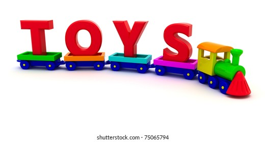 Red letters Toys on the toy train