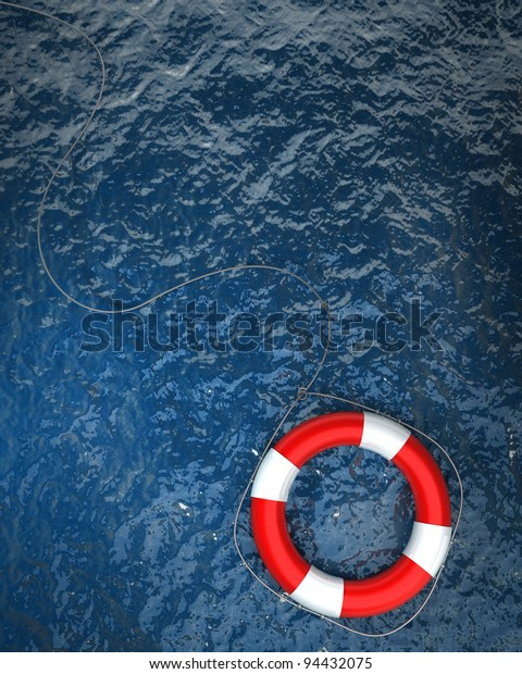 Red life buoy in the water High resolution