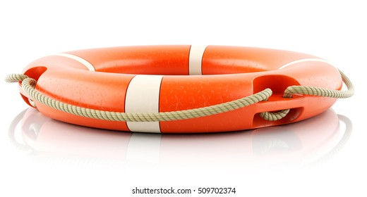 Red lifebuoy ring isolated on white background 3d
