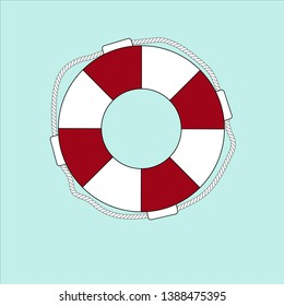 Red lifebuoy with rope on a blue background. Illustration.