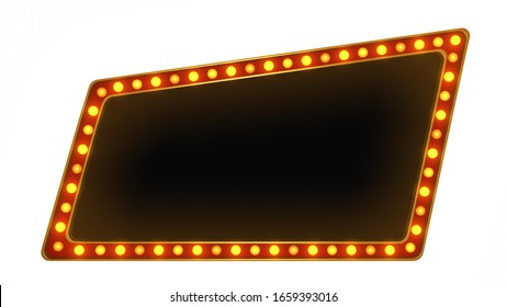 Red light board sign retro on white background. 3d rendering