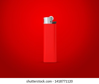 Red lighter isolated on red background with clipping path. Disposable plastic lighter. Surface closeup for your design. Blank gas cigar-lighter mockup element. 3d illustration.