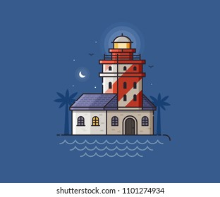 Red lighthouse night scene. Light house beam on seaside background. Sea side landscape with striped pharos or seamark, moon and seagulls.