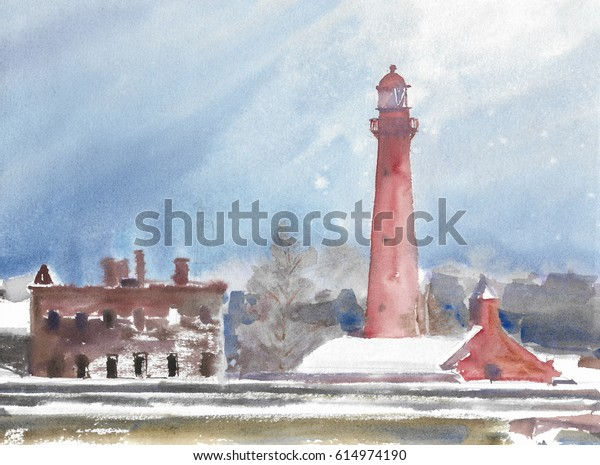 Red Lighthouse Snowcovered Day Watercolor Painting Stock