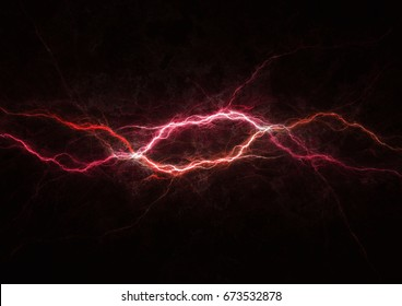 Red lightning strike, electrical background