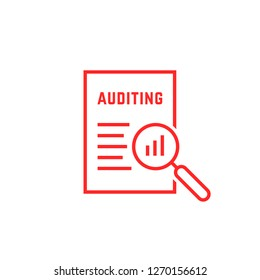 red linear document like auditing. concept of auditor, fax, seo, scrutiny, annual verification, evaluation, info, growth, forecast. flat style logotype design illustration on white background