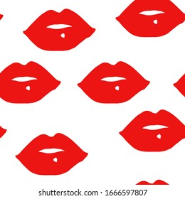 red lips drawing seamless pattern on a white background