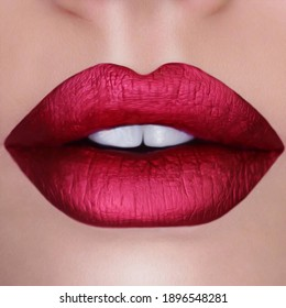 Red lips with gloss. Oil painting imitation. 3D illustration.