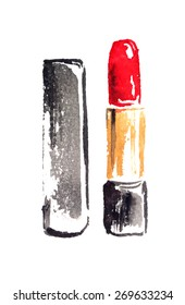 Red lipstick painted in watercolor on white isolated background