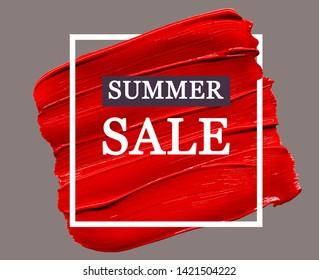 "Red lipstick smudged background with white frame and text ""Summer sale"". Sale advertisement banner. Lipstick or other makeup product swatch. Beauty store sale banner, sale announcement, advertisement"