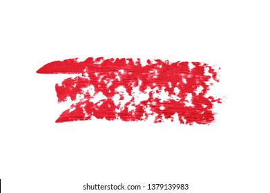 Red lipsticks smears on white background