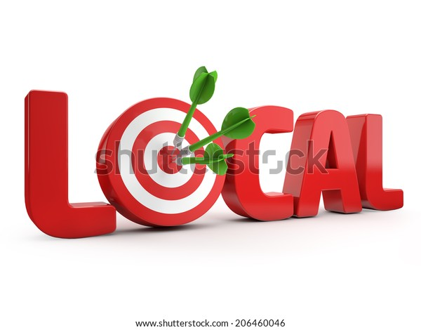 red local text and dart hitting a target isolated white background