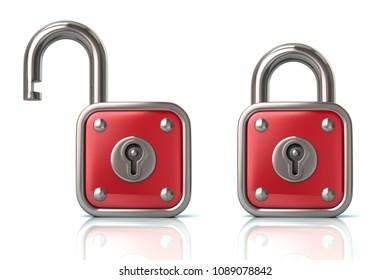 Red lock and unlock padlock 3d illustration on white background