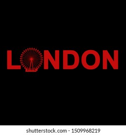 Red London article with London Eye silhouette on black background.Beautiful pattern for decoration,fabric,home textile and paper.Beautiful t shirt pattern.