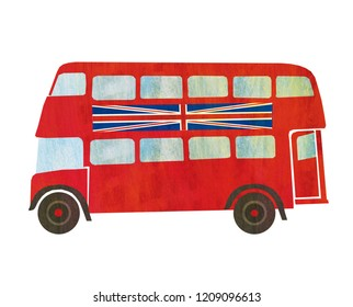 Red London Double Decker Bus with Union Jack