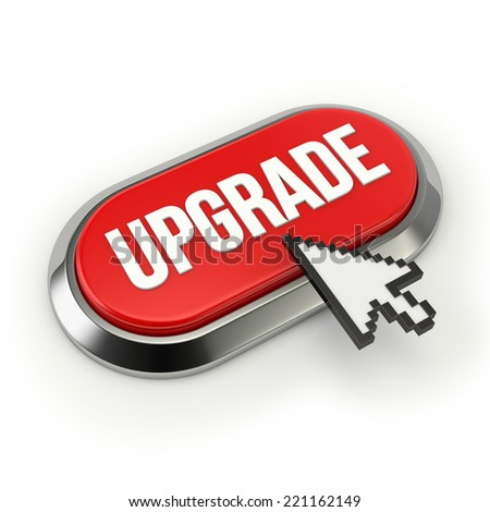 Red Long Upgrade Button With Chrome Border On White Background