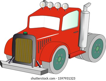 Red Lorry - tractor unit - truck for haulage