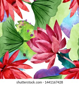 Red lotus floral botanical flower. Wild spring leaf wildflower. Watercolor illustration set. Watercolour drawing fashion aquarelle. Seamless background pattern. Fabric wallpaper print texture.