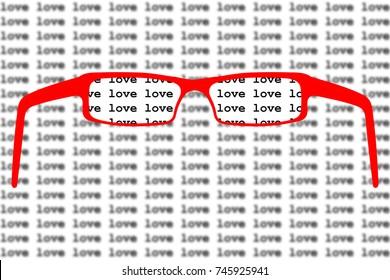 Red love glasses