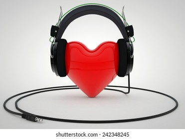 Red Love Heart with Headphones