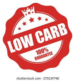 Red Low Carb 100% Guarantee Stamp, Badge, Label, Sticker or Icon Isolated on White Background