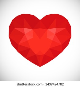 Red Low Poly Heart on white background. Symbol of Love