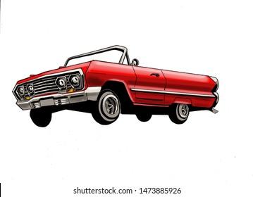 Red Lowrider Vintage Style Illustration