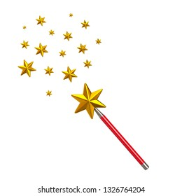Red magic star wand with stars 3d illustration isolated on white background