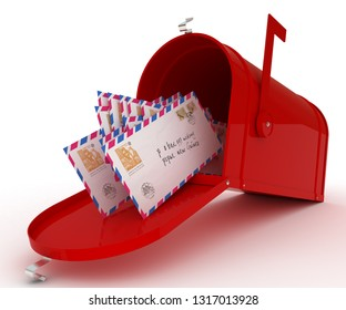 Red mail box with heap of letters. 3D illustration isolated on white. 3D rendering illustration