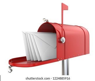 Red Mailbox with envelopes. Classic Mailbox, open with 5 envelopes. Red and isolated on white background. 3D render.