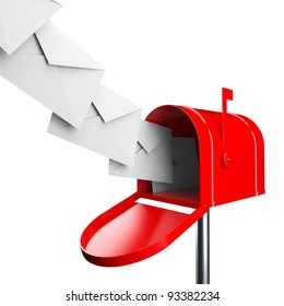 Red mailbox with letters isolated over white background
