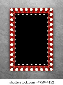 Red makeup mirror on the concrete wall. 3D rendering