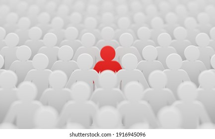 Red man color figurine among crowd white men people background. Social lifestyle and business competition and strange person concept. Human character symbol theme. 3D illustration rendering.