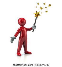 Red man with magic wand and golden stars 3d illustration on white background