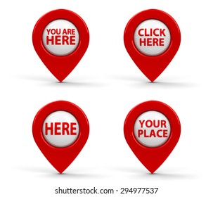 Red map pointers with text isolated on white background, three-dimensional rendering