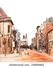Red marker sketch of a street view and cathedral