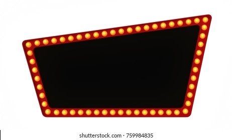 Red Marquee light board sign retro on white background. 3d rendering