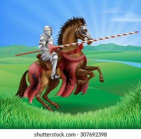 A red medieval knight in armor riding on horseback on a brown horse holding a jousting lance in green field of grass