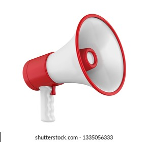 Red Megaphone Isolated. 3D rendering